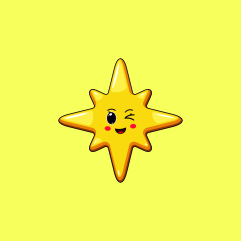 Cartoon Kawaii Golden Star with Winking Face. Cute Christmas and New Year Star with 8 Rays Vector