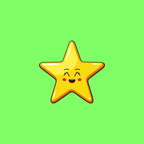 Cartoon Kawaii Golden Star with Grinning Face. Cute Star with 5 Rays Vector