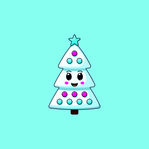 Cartoon kawaii Christmas tree with Cheerful face. Cute white Christmas tree with decorations Vector