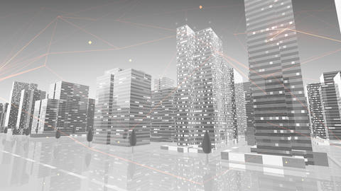 Digital City Network Building Technology Communication Data Business Background Sky Cc0BW Animation