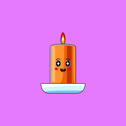 Cartoon kawaii Wax Candle with Admiring face. Cute burning Candle in the Cup Vector