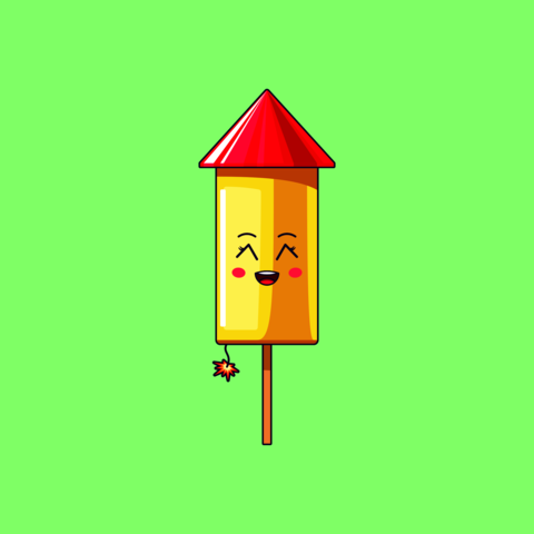 Cartoon kawaii Firework with Grinning face. Cute Firework rocket with Burning fuse Vector
