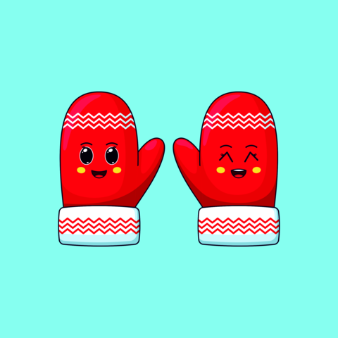 Cartoon kawaii Mittens with Cheerful and Grinning face. Cute red Mittens with pattern for Christmas Vector