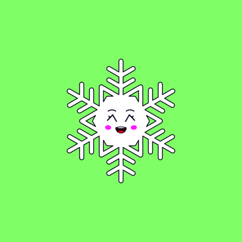 Cartoon Kawaii Snowflake with Grinning Face. Cute white Snowflake for Frosty winter season Vector