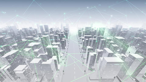 Digital City Network Building Technology Communication Data Business Background Sky Dc0BW Animation