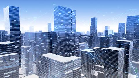 Digital City Network Building Technology Communication Data Business Background Sky Ga0 Animation