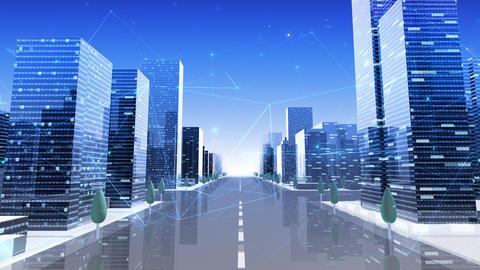 Digital City Network Building Technology Communication Data Business Background Sky Ac0 Animation