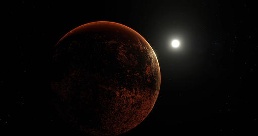Sun slow orbit around red barren mars planet in deep outer space Animation