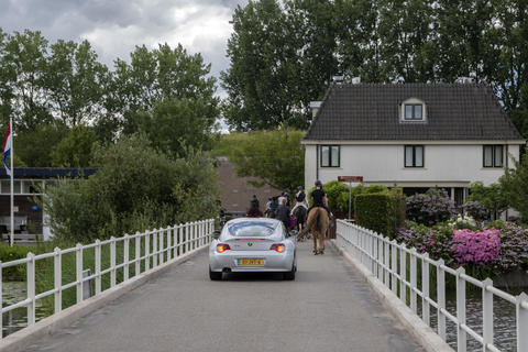 BMW Z4 And Horses On The Vechtbrug Bridge At Weesp The Netherlands 20-7-2020 Fotografía