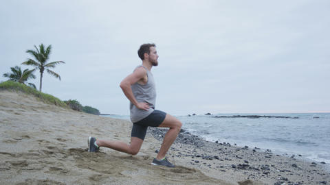 Fitness man doing lunges exercise workout ライブ動画
