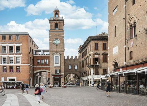 the clock tower in Ferrara Photo