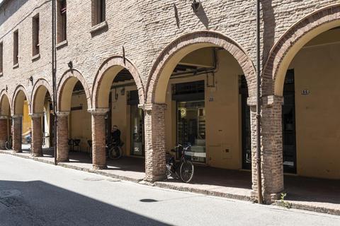 the porticoes of the historic buildings in Ferrara Photo