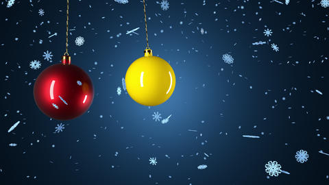 Balls, toys for the Christmas tree and falling snow. Mary Christmas and happy new year background Animation