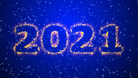 Happy new year 2021 sparkling year lettering blue background Animation