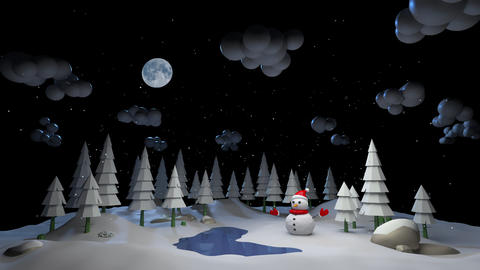 Mary Christmas and new year background animation. Snowman and New Year's weather in the forest 3d Animation
