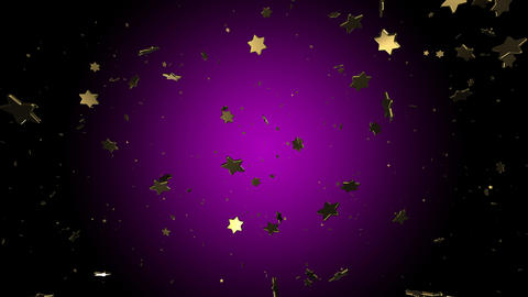 3d render christmas snowfall of golden stars on a lilac background. Mary Christmas and happy new GIF