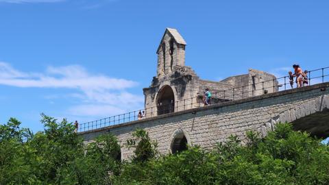 Tourists on the bridge of Avignon Acción en vivo