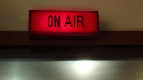On Air Radio Sign in a Radio Station Live Action