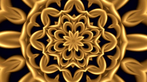 Animation Of Abstract Background In Gold Color With Kaleidoscopic Ornament 0