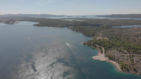 Bays and channels of Adriatic Sea from above. Motor boats near Croatian shores GIF