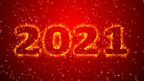 Happy new year 2021 sparkling year lettering red background Animation