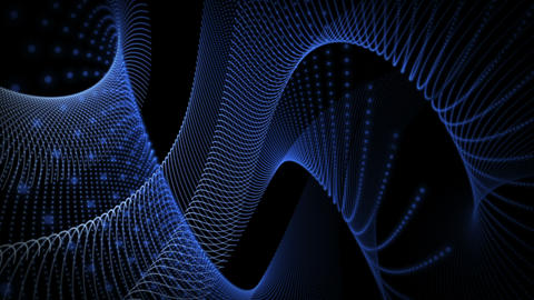 Futuristic video animation with particle stripe object in motion, loop HD Videos animados