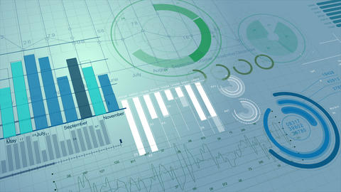 Beautiful Stock Market Information 3d Animation. Financial Figures, Charts and Live Action