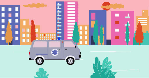 Ambulance past by empty streets in city during summer sunset. Outbreak Animation