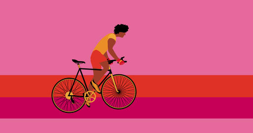 African American cyclist is riding bicycle on the pink background.Cartoon Acción en vivo