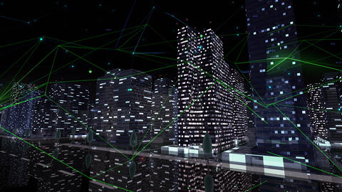 Digital City Network Building Technology Communication Data Business Background Night Ca0 Color Animation
