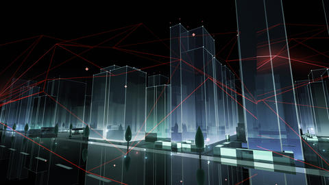 Digital City Network Building Technology Communication Data Business Background Night Cc0 Color Animation