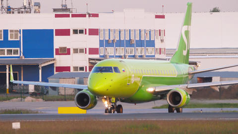 S7 Airlines Embraer 170 taxiing at Tolmachevo airport GIF