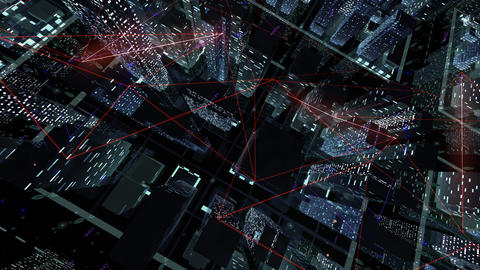 Digital City Network Building Technology Communication Data Business Background Night Ea0 color Animation