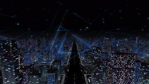 Digital City Network Building Technology Communication Data Business Background Night Fa0 Animation