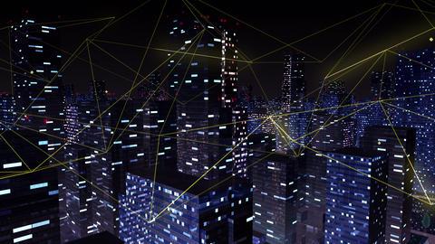 Digital City Network Building Technology Communication Data Business Background Night Ga0 Color Animation