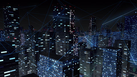 Digital City Network Building Technology Communication Data Business Background Night Ga0 Animation