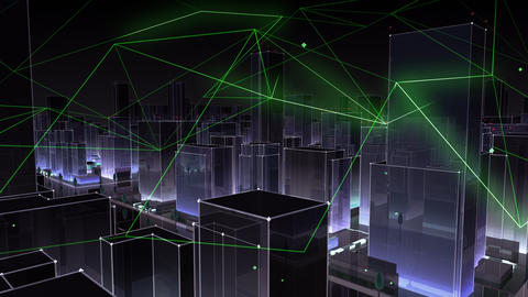 Digital City Network Building Technology Communication Data Business Background Night Gc0 Color Animation