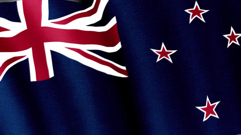New Zealand. State flag of the country Animation