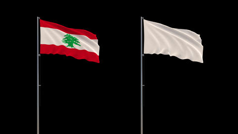 Lebanon flag and white flag waving on transparent background, 4k footage with Animation