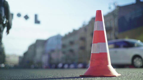 Road traffic : Police cone on the road. Place of accident. Transport Live Action