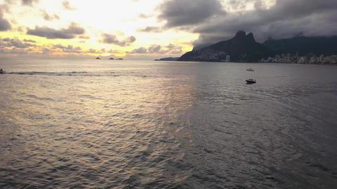 Rio De Janeiro Brazil, Ipanema Beach, Aerial of Amazing Sunset Skyline Acción en vivo