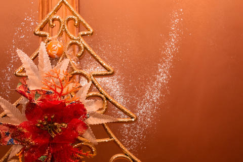 Abstract New Year and Christmas decorating tree on glass backgro Photo