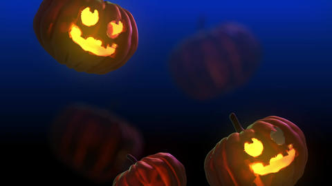 Falling 3D Halloween pumpkin - Blue background Videos animados