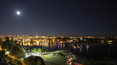 Boats traffic at False Creek with moon rising Footage