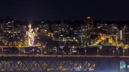 Automobile night traffic on bridges and on the street Footage