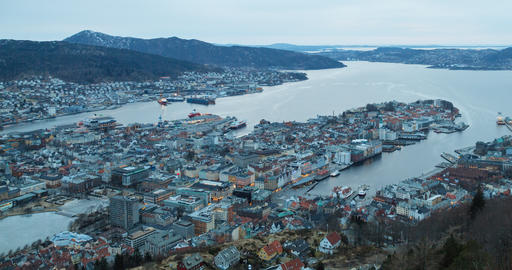 Panorama of Bergen, Sunset. Norway. Time Lapse Footage