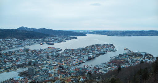 Sunset over the fjord of Bergen, Norway. Time Lapse Footage