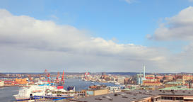 Ships in the port of Gothenburg. Sweden Footage