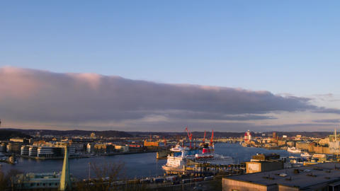 Port of Gothenburg at sunset. Sweden. TimeLapse Footage