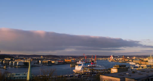 Port of Gothenburg, the transition day-night. Sweden. Time Lapse Footage